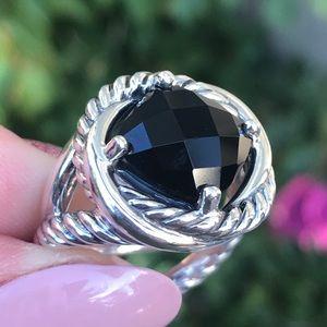 David Yurman Sterling Infinity Ring w/ Black Onyx